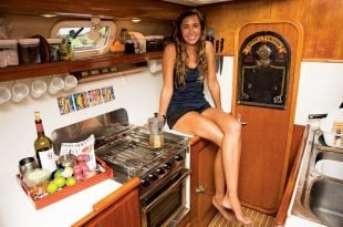 Allison takes a few moments to relax in the galley after the Virgin Islands Charteryacht League Culinary Competition