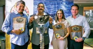 ILTTA 76 winners (from left): Wally Heinsen; tournament chairman Luis Infanzon, Carolina Mederos and Raúl Rizek. Photos by Marcos Caballero