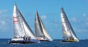 Spinnaker Racing Class Category 5 – hiking-out in flat water. Photograph Courtesy of Grenada Sailing Week