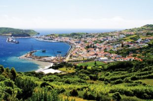 Horta and Horta Bay, as seen from Espalamaca, showing the marina, the old dock, and volcanic cones, Monte Escuro and Monte da Guia