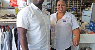 Jurick Haynes and Arasely Martis of Budget Marine, Curaçao