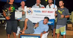 Top Boat, Reelin & Dealing – Captain Adrian de Silva (far left), Top Angler Andy Ramnanan (front). Photo courtesy of Trinidad & Tobago Game Fishing Club