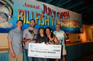 2016 July Open Billfish Tournament Top Boat, Never Say Never, Top Angler, Zachary 'Zac' Murck (third from right). Credit: Dean Barnes