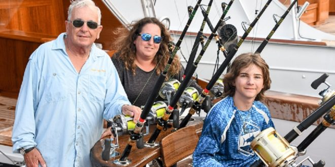 Three generations fish the 54th JOBT aboard Never Say Never: l to r: Jim Carr, Melissa Murck and Zac Murck. Credit: Dean Barnes
