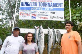 L to R: Julian Aubain, Chelsea Aubain and Lawrence Aubain, Jr. Lawrence caught the tournament's largest kingfish. Credit: Dean Barnes