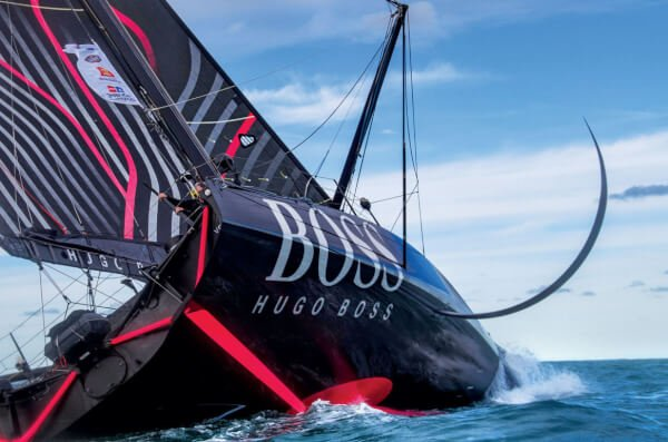 Alex Tomsom's Hugo Boss (8 million US) is powered by an Oceanvolt system, a perfect match for its needs—particular since it has 60 solar cells built into its deck.